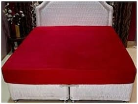 AVI Set of 2 Pcs High   Double Bed Size Fitted Mattress Mattress cover With  Pillow Protector/Waterproof pillow cover-72x72 (Maroon)