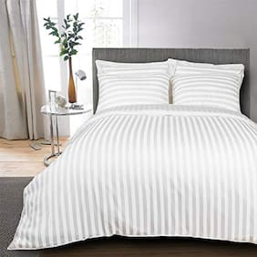 AVI Set of 3 Classic 300 TC Stripes Cotton Extra Large Bed Sheet With 6 Pillow Cover;White (108*108in)