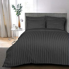 AVI Set of 3 Classic 300 TC Stripes Cotton Extra Large Bed Sheet With 6 Pillow Cover;Dark Blue (108*108in)