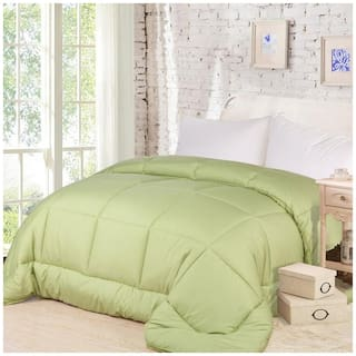 AVI Polyester Solid Single Size Comforter Green