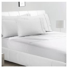 AVI Cotton Striped Single Size Bedsheet 144 TC ( 1 Bedsheet With 2 Pillow Covers , White )