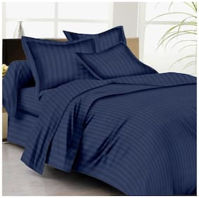 AVI Super Classic High Quality Single Size 310 TC Sateen Stripes Cotton Bed Sheet With 1 Pillow Cover,(54x90) Navy Blue
