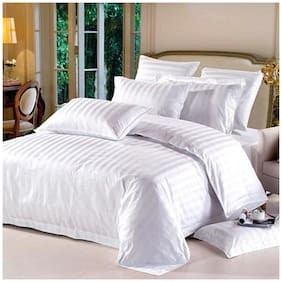 AVI Cotton Striped Double Size Bedsheet 144 TC ( 1 Bedsheet With 2 Pillow Covers , White )