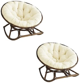 AVI Super Soft & Fluffly Hand-made Quilted Pure Cotton 2 Round Decorative/Floor/Chair Cushion/Yoga Mat/Aasan - (20  inches 50 cm Round, White)