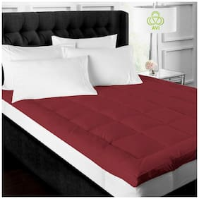 AVI Super Soft 500GSM Mattress Padding/Topper For Comfortable Sleep - Maroon(72x72)