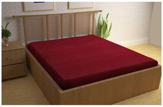 AVI Waterproof Spill Proof Dust proof Single Bed Fitted Mattress Protector For Complete Protection Of Your Mattress- Maroon (36 X 78 inches)