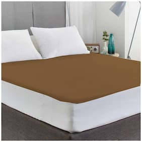 AVI Waterproof And Dustproof Double Bed Fitted Mattress Protector For Complete Protection Of Your Mattress- Brown (182.88 cm (72 Inch) X 182.88 cm (72 Inch))