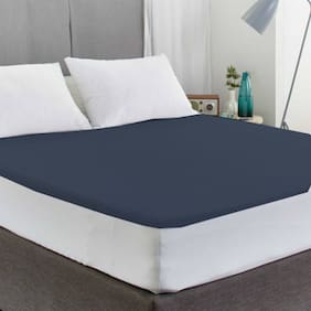 AVI Waterproof And Dustproof Double Bed Fitted Mattress Protector For Complete Protection Of Your Mattress- Dark Blue (182.88 cm (72 Inch) X 182.88 cm (72 Inch))