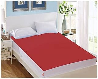 AVI Waterproof King Size Bed Fitted Mattress Protector For Complete Protection Of Your Mattress- Red (198.12 cm (78 Inch) x 213.36 cm (84 Inch))7 x 6.5 Foot/Feet)