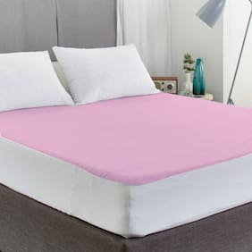 AVI Waterproof Large Twin Size Bed Fitted Mattress Protector For Complete Protection Of Your Mattress- Pink (121.92 cm (48 Inch) x 198.12 cm (78 Inch))6.5 x 4 Foot/Feet)