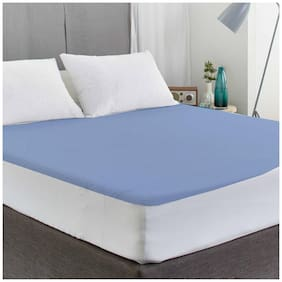 AVI Waterproof And Dustproof Double Bed Fitted Mattress Protector For Complete Protection Of Your Mattress- Navy Blue (182.88 cm (72 Inch) X 182.88 cm (72 Inch))