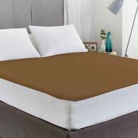 Avi Waterproof Double Bed Fitted Mattress Protector-(72 X 75) Brown6.25 x 6 ft/Feet)