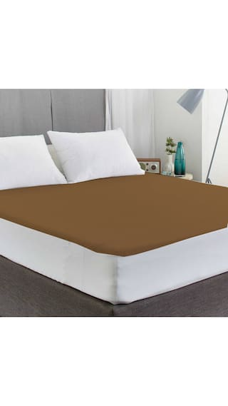 Avi Waterproof Double Bed Fitted Mattress Protector-(72 X 75) Brown6.25 x 6 Foot/Feet)