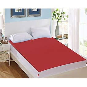 AVI Waterproof Small Bed Fitted Mattress Protector For Complete Protection Of Your Mattress- Red (91.44 cm (36 Inch) x 182.88 cm (72 Inch))6 x 3 Foot/Feet)