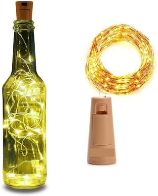 Avyukta Wine Bottle Lights With Cork 20 Led 72 Pre-Installed Mini Fairy Light Battery Operated For Diy Party Table Christmas Halloween Wedding Light () (Set of 1)