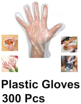 Axtry 300 pcs Disposable Plastic Gloves Plastic Hand Gloves Polythene Gloves For Kitchen Cooking House Cleaning Hair Coloring