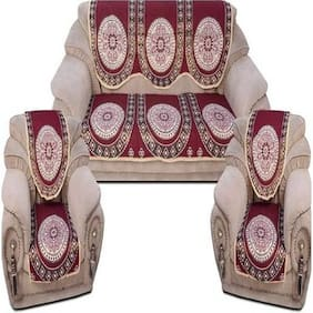 Azaani Maroon Floral Cotton Sofa Cover Set