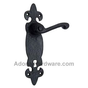 """Azor"" Black Iron Door Handle with Plate"