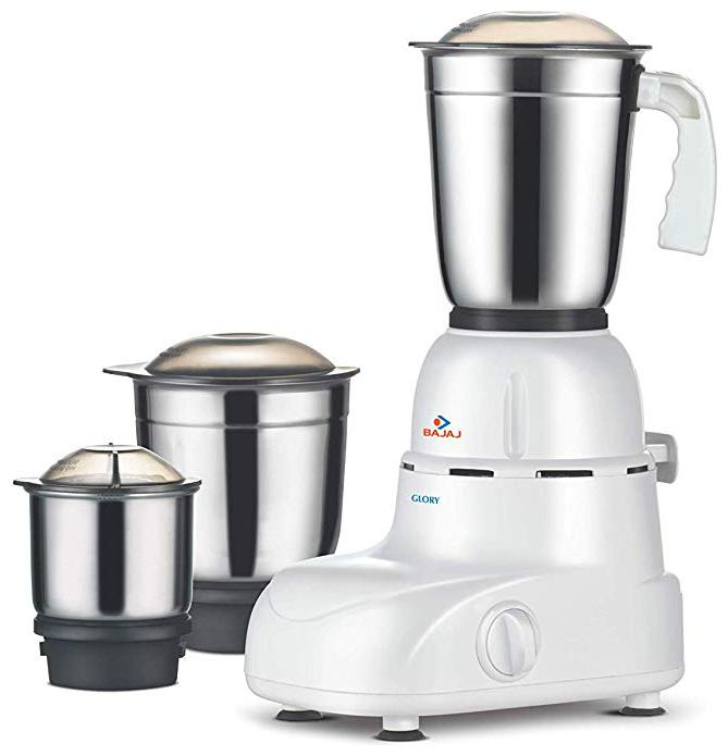 Bajaj GLORY 500 W Mixer Grinder   White   Brown , 3 Jars