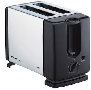 Bajaj ATX 3 2 Slices 750 W Pop-Up Toaster - Silver & Black