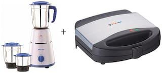 Bajaj Combo of PLUTO 500 w Mixer grinder &  SWX-7 2 Slice Sandwich Maker