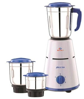 Bajaj Pluto 500 Watt 3 Jar Mixer Grinder (White & Blue)