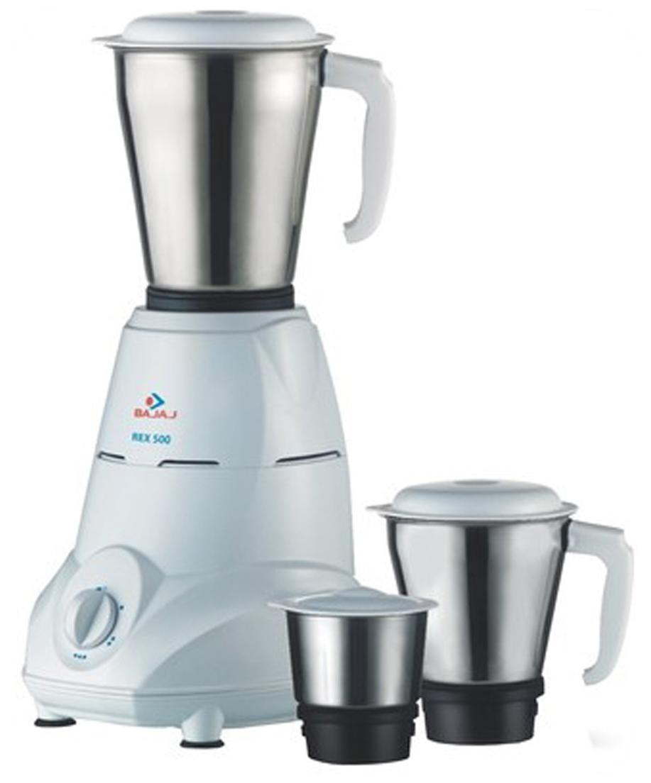Bajaj Rex 500 W Mixer Grinder (White/3 Jar)