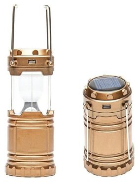 BALASONS Solar 6 LED Rechargeable LED Camping Lantern Emergency Cell Phone charger Brightest and Unique Lantern (Brown Color)