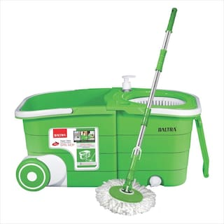 Baltra Twin Bucket Spin Mop with 2 Refiles (BMP 101) Green