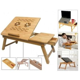 Bamboo Wooden, Multipurpose, Foldable, Height & Angle Adjustable, Laptop/Study/Bed Table