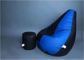 Bamboozle Filled Bean Bag with Footstool (Black & Blue)