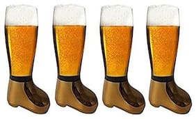BARRAID Beer Boot Glass Tumbler/Mug (750 ml, Golden Electroplated) -Set of 4