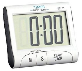 Baskety Digital Kitchen Timer & Stopwatch, Large Digits, Loud Alarm, Magnetic Stand (White) DC101