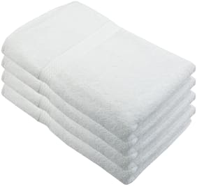 """Bath Towel - 4pc Set;450 GSMCotton Fabric;(Size -27 x 54"""") - White Color By Fresh From Loom"""