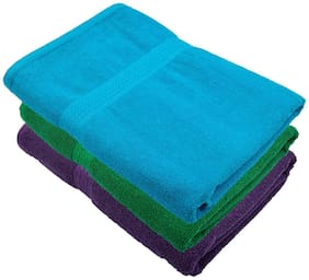"""Bath Towel 450 GSM Cotton Fabric (Size -27 x 54"""") 3 Piece - Multi-Color Color By Fresh From Loom"""
