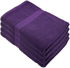 """Bath Towel - 4pc Set;450 GSMCotton Fabric;(Size -27 x 54"""") - Purple Color By Fresh From Loom"""