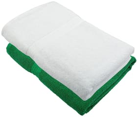 """Bath Towel 450 GSM Cotton Fabric (Size -27 x 54"""") 2 Piece - Green and White Color By Fresh From Loom"""