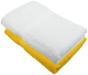 "Bath Towel 450 GSM Cotton Fabric (Size -27 x 54"") 2 Piece - Yellow and White Color By Fresh From Loom"