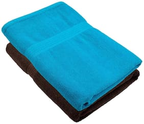 "Bath Towel 450 GSM Cotton Fabric (Size -27 x 54"") 2 Piece - Coffee and Sky Blue Color By Fresh From Loom"