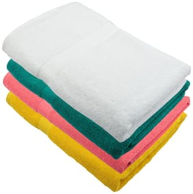 """Bath Towel 450 GSM 100% Cotton Fabric (Size -27 x 54"""") 4 Piece - Multi-Color Color By Fresh From Loom"""