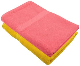 "Bath Towel 450 GSM Cotton Fabric (Size -27 x 54"") 2 Piece - Yellow and Pink Color By Fresh From Loom"