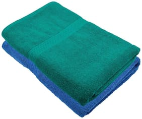 """Bath Towel 450 GSM Cotton Fabric (Size -27 x 54"""") 2 Piece - Blue and Green Color By Fresh From Loom"""