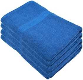 Fresh From Loom 450 GSM Cotton Bath towel ( 4 pieces , Blue )