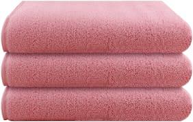 Bathe & Soak Pack of 3 Microfiber Bath Towel, 70x140 cms, Medium, 250 GSM (Pink)
