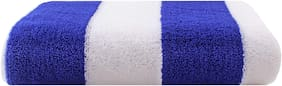Bathe & Soak Microfiber Bath Towel Cabana, 70x140 cms, Large, 250 GSM (White & Royal Blue)