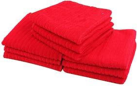 Bathe & Soak Pack of 9 Microfiber Face Towel 24x24 cms Red