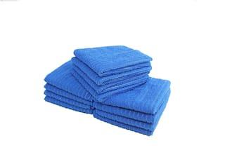 Bathe & Soak Pack of 12 Microfiber Face Towel 24x24 cms Blue