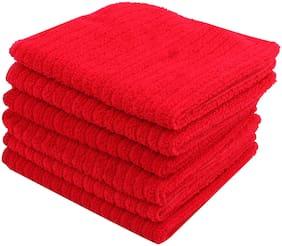 Bathe & Soak Pack of 6 Microfiber Face Towel 24x24 cms Red