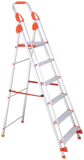 Bathla Aluminium 5 Steps Ladder ( Silver , Front Step )
