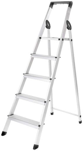 Bathla Aluminium 5 Steps Ladder ( Black & Silver , Front Step )